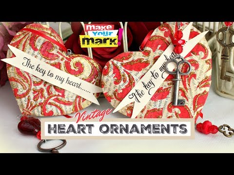 Vintage Heart Valentine Ornaments