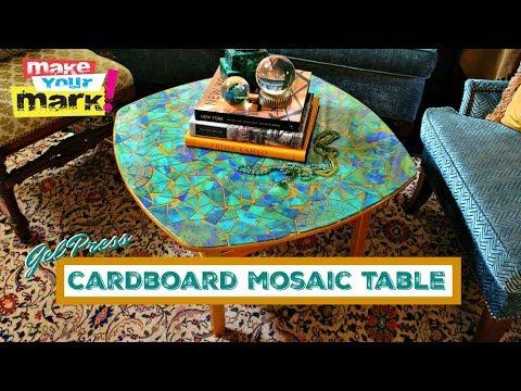 Cardboard Mosaic Table - E6000, Glaze Coat