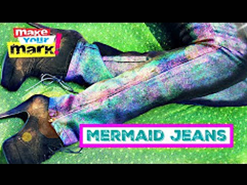 Sparkling Iridescent Mermaid Jeans, Unicorn SPiT Spakling